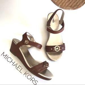 Michael Kors Cate Agatha Cognac Wedge Sandals!